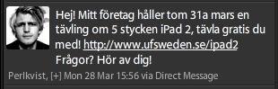 Första spam-DM om tävlingen