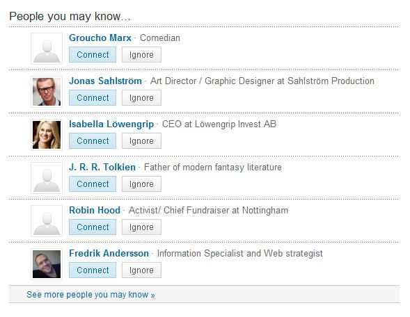 People I may know på LinkedIn