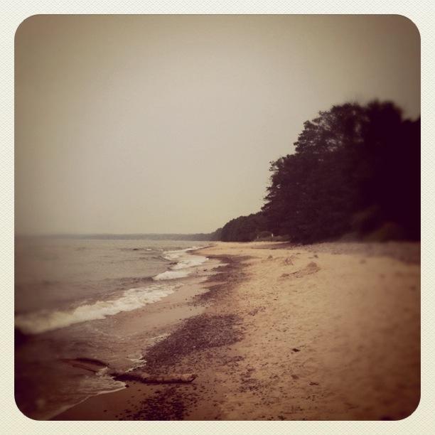 Gyllene sand och bränningar vid stranden vid Stenshuvud