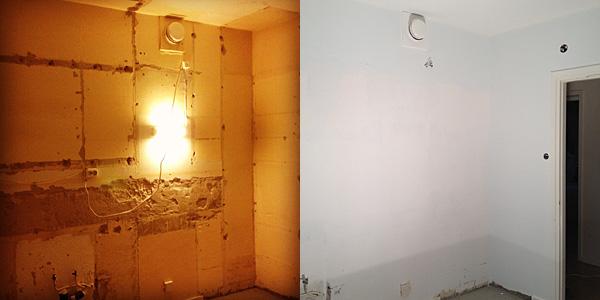 Andra hörnan av köksväggen före och efter renovering