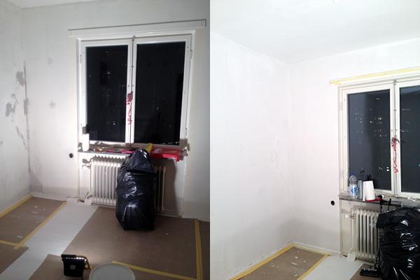 Äntligen lite skillnad! Före och efterbild på grundmålade väggar