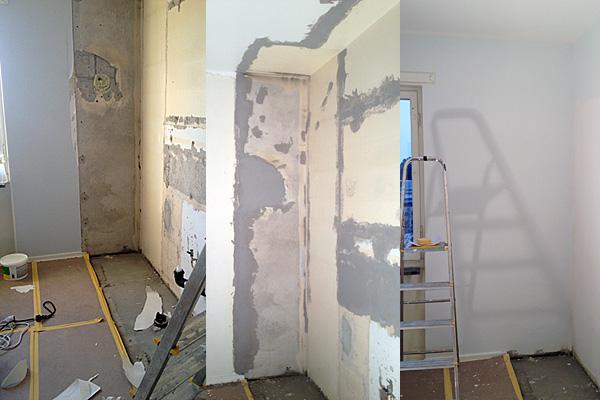 Före, under tiden och efter-bild på renovering av samma vägg