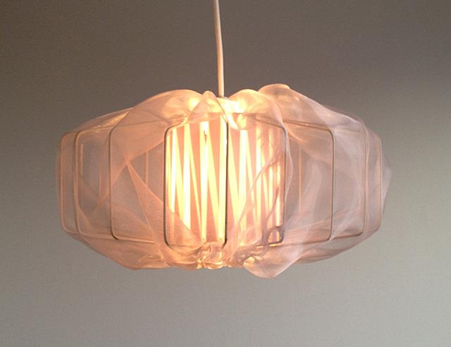 Såhär blev min lampskärm när den var upphängd och klar!