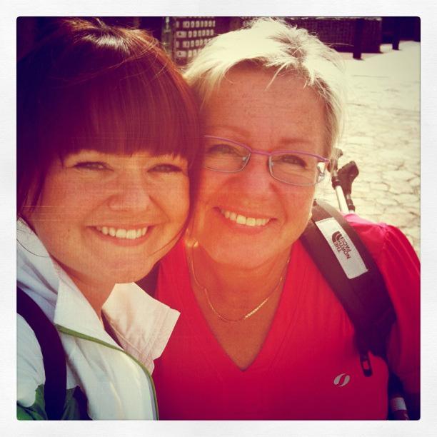 Mamma och jag på El Camino de santiago