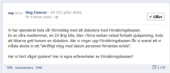 Ung Cancers Facebooksida